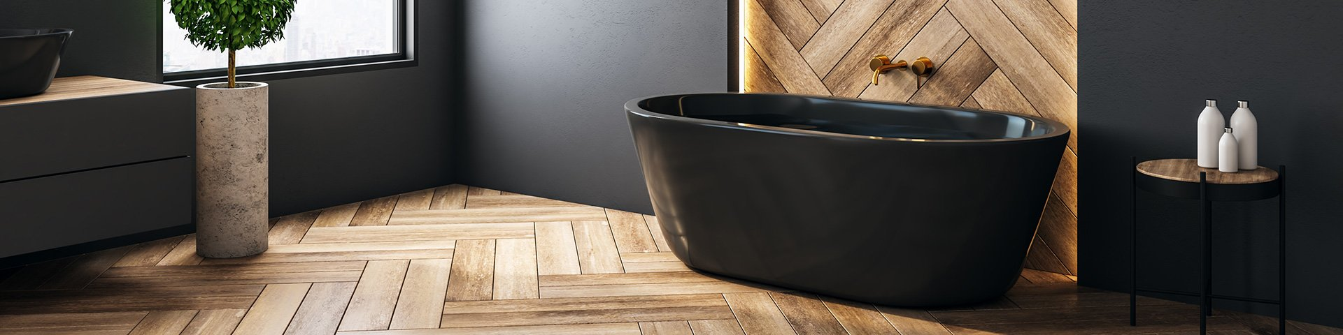 drewnopodobne płytki na podłodze łazienki ułożone w jodełkę