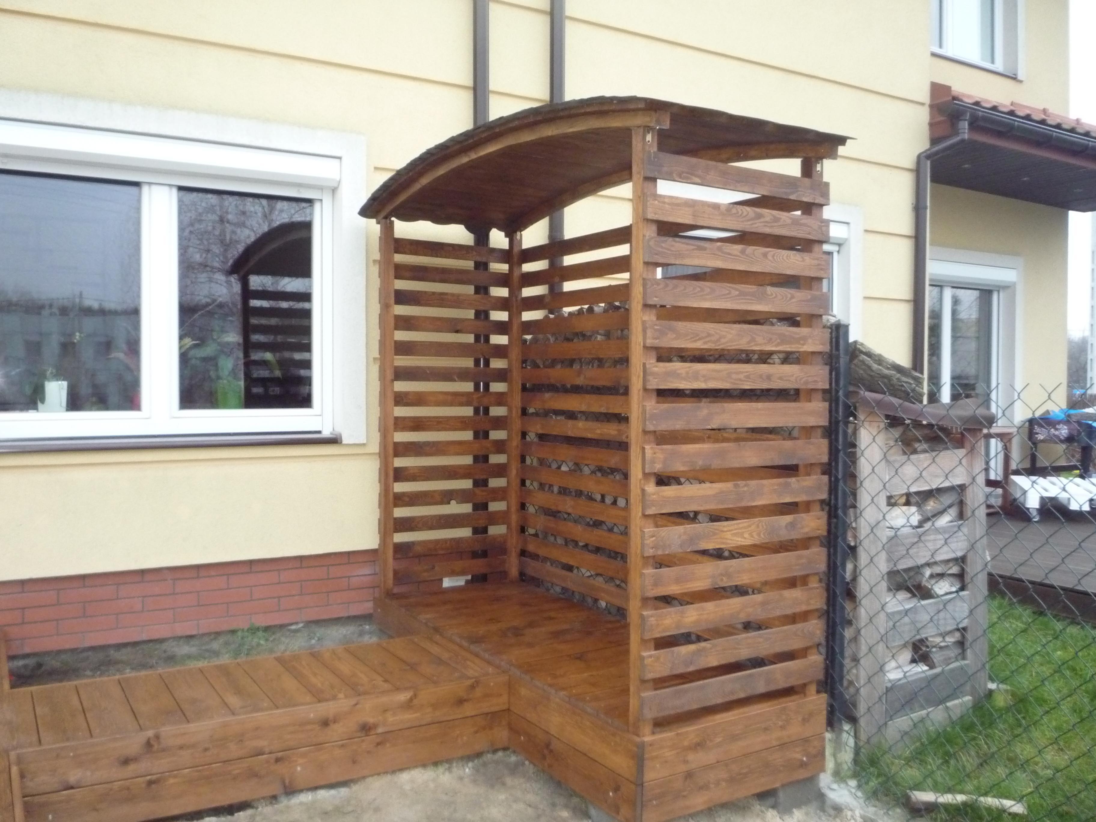 Super Konstrukcje drewniane drewutnia zabudowa śmietnika taras, Wesoła UG77