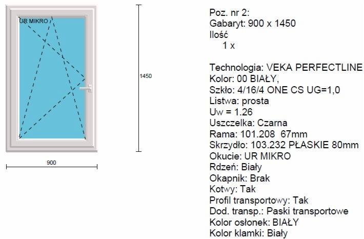Bardzo dobryFantastyczny Okno PCV jednoskrzydłowe 900x1450mm VEKA Perfectline - Oferta nr OT88