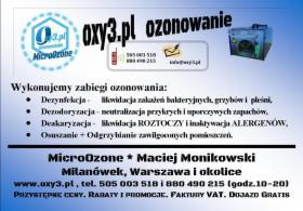 Ozonowanie - dezynfekcja, neutralizacja zapachów., Warszawa, oferta