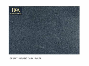 PARAPETY / STOPNICE z granitu PADANG DARK poler. o grubości 3 cm, wym. 180x30 cm