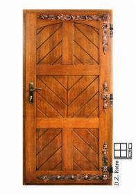 Drzwi zewnętrzne drewniane retro