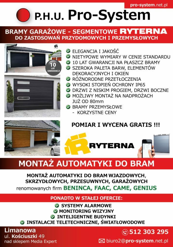 Wybitny Bramy garażowe segmentowe RYTERNA !!!, Limanowa, Nowy Sącz, Kraków ER52