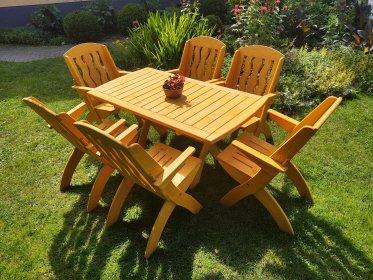 Komplet mebli ogrodowych 6 krzeseł + stół prostokątny typ X lamel nr 6, oferta