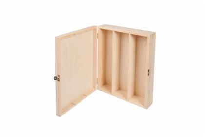 Drewniana skrzynka na trzy wina otwierana