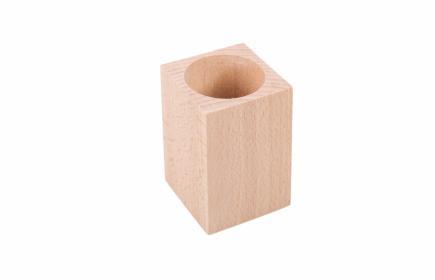 Kubek drewniany na przybory, długopisy kwadratowy