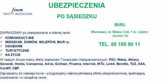 Ubezpieczenia - wiele ofert, Warszawa, oferta