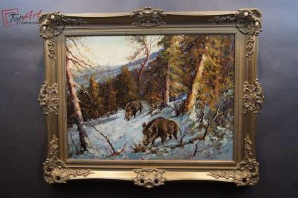 Barwny stary obraz dziki zimową porą