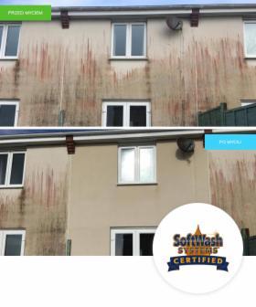 Mycie niskociśnieniowe elewacji i fasad budynków