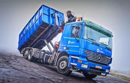 """Samochód ciężarowy z zabudową hakową do transportu kontenerów, wyposażony w dźwig hydrauliczny """"HDS"""", Będzin, oferta"""