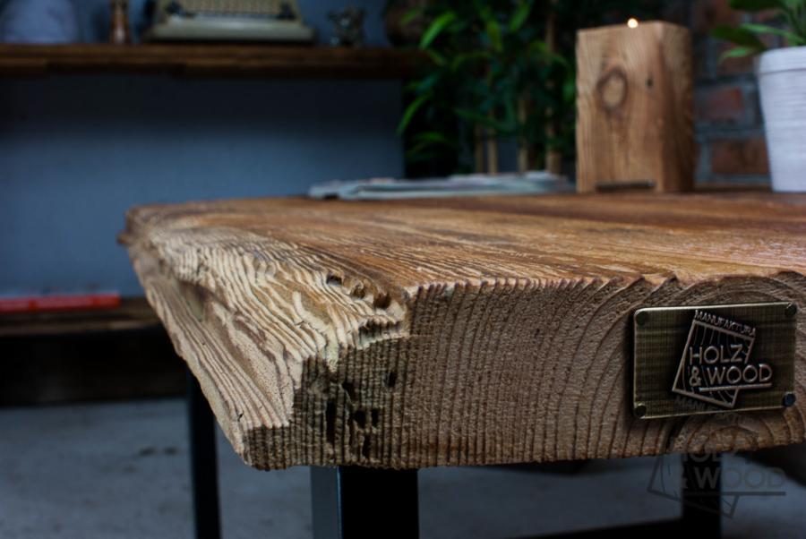 Stolik Kawowy Drewniany Ze Starego Drewna I Stali Sozon