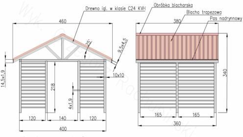 Altana ogrodowa 4x3.6 [m] C24