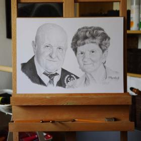 portret ołówkiem A3 - 2 osoby, Zamość, oferta
