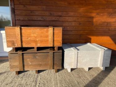 Malowana drewniana skrzynia ogrodowa, kufer, donica 112x75x50, Sokolniki, oferta