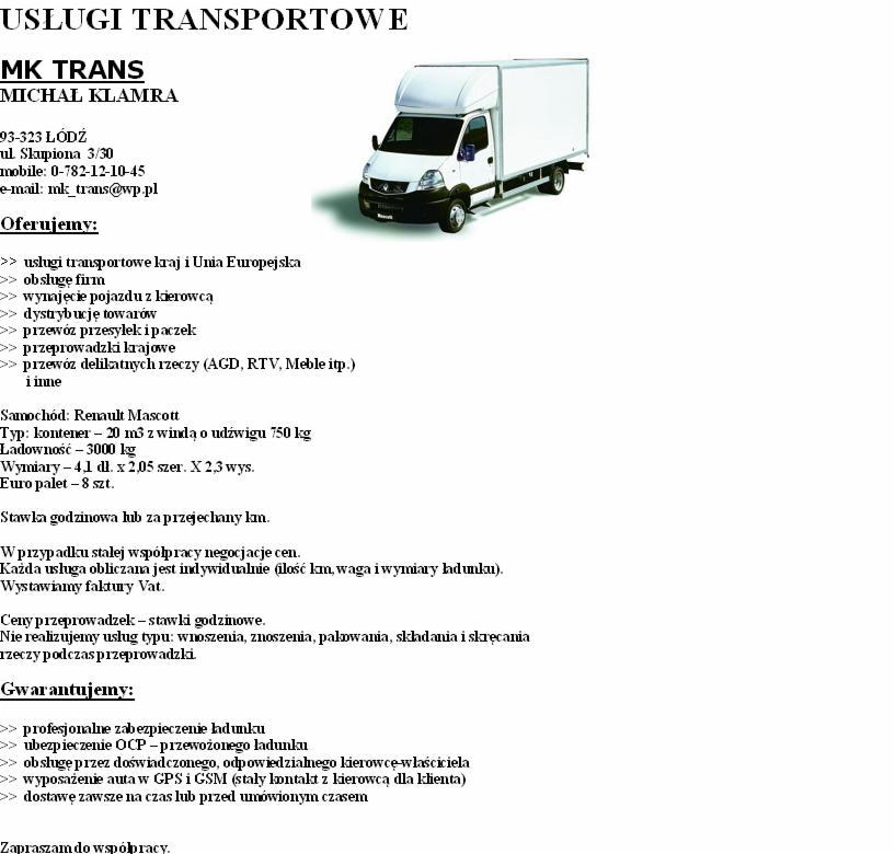 Poważne USŁUGI TRANSPORTOWE, KURIER EXPRESS, Łódź - Oferta nr 21956 QF87