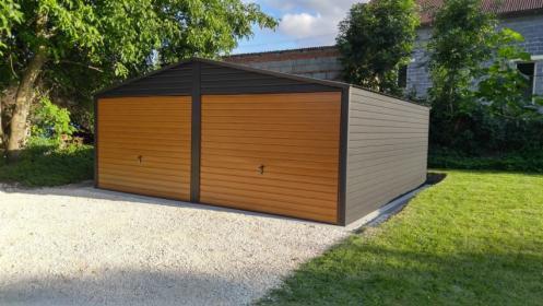 Garaż blaszany 6×6 m + dwie bramy uchylne drewnopodobne, Katowice, oferta