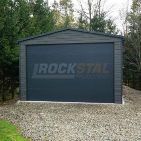 Duży garaż blaszany 5x10m – antracyt, brama uchylna, dodatkowe okno