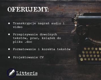 Transkrypcje Przepisywanie tekstów Formatowanie Projekt CV, Warszawa, oferta