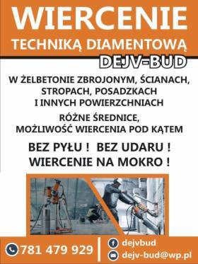 Cięcie i wiercenie otworów w betonie, różne średnice, Technika Diamentowa 781 479 929, Uniejów, oferta