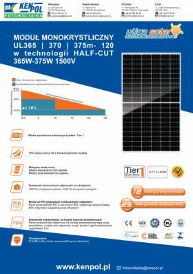 Moduł Fotowoltaiczny Ulica Solar UL-370M-120 1765x1048x35 mm, Piotrków Trybunalski, oferta