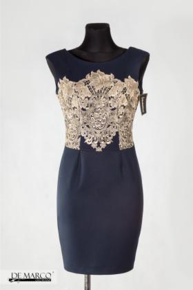 d80a3405e5 Elegancka granatowa sukienka ołówkowa De Marco