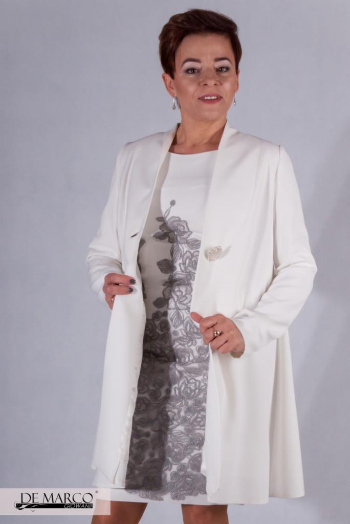 fbf9488173 Elegancki śmietanowy płaszczyk do sukienki na wesele