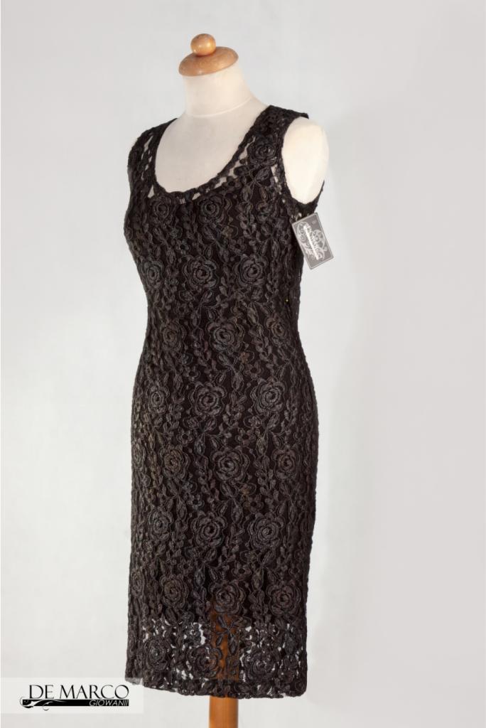 e2b91d2860 Piękna czarna w róże sukienka do pracy De Marco Frydrychowice ...