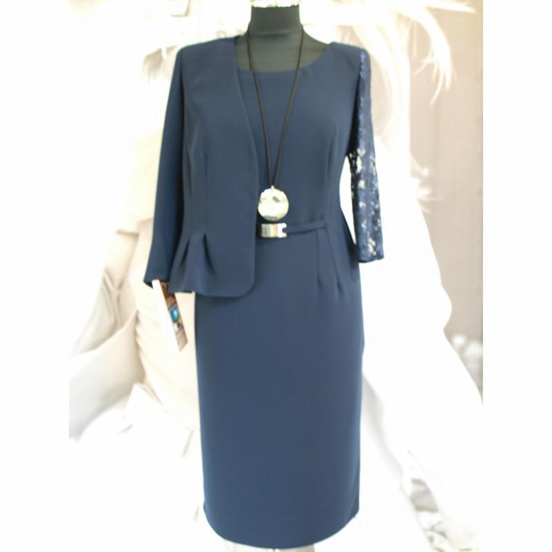 3a67b845ed Komplet Venezia MARIE - granatowa koronka - żakiet i sukienka w kolanko