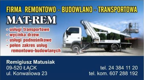 F.R.-B.-T. Mat-Rem Podnośniki koszowe - Transport międzynarodowy Łąck