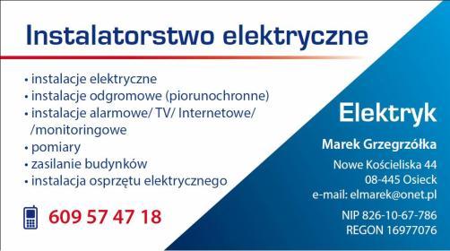 Instalatorstwo elektryczne Marek Grzegrzółka - Projektant instalacji elektrycznych Osieck