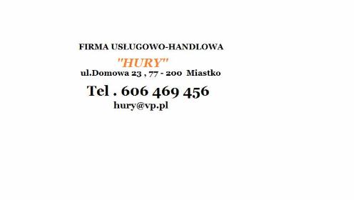 """Firma Usługowo-Handlowa """"Hury"""" - Okna Miastko"""