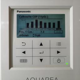Panasonic Aquarea, powietrze-woda, COP uśrednione z całego tygodnia (!): 7,30 A w środę było nawet 9,0... :-)))