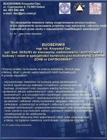 BUDSERWIS Krzysztof Dec - Kierownik budowy Dobra
