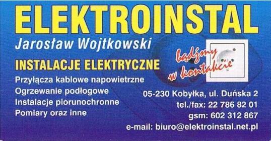 Elektroinstal Jarosław Wojtkowski - Projektant instalacji elektrycznych Kobyłka
