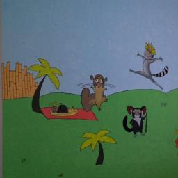 """Bajkowa ściana z postaciami z filmu """"Madagaskar"""""""