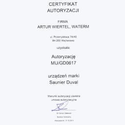 Certyfikat Saunier Duval
