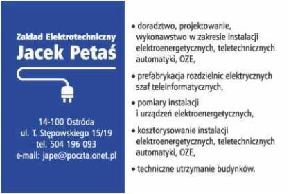 Zakład Elektrotechniczny Jacek Petaś - Fotowoltaika Ostróda