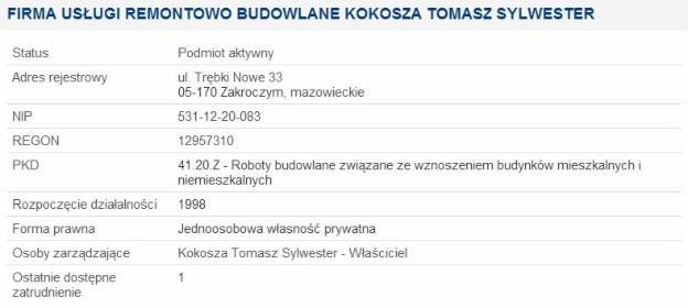 Tomasz Kokosza - Firma Remontowa Zakroczym