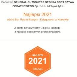 Ponownie GENERAL OUTSOURCE SPÓŁKA DORADZTWA PODATKOWEGO Sp. z o.o. zdobywa tytuł Najlepsi 2021 wśród Biur Rachunkowych i Księgowych w Krakowie