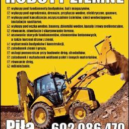 Usługi koparko-ładowarką, wykopy, prace ziemne, odśnieżanie, Piła - Ekipa budowlana Piła