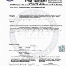 Certyfikat PZH - systemy RO