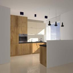 Projekt wnętrza kuchni w drewnie, Bydgoszcz