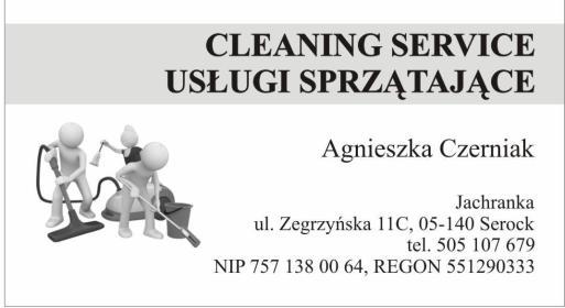 CLEANING SERVICE USŁUGI SPRZĄTAJĄCE AGNIESZKA CZERNIAK - Okna Bez Smug Serock