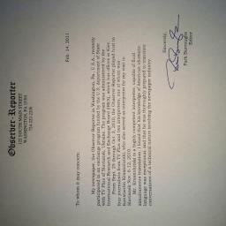 Observer Reporter the reference letter from the ed