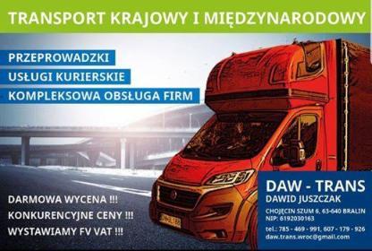 DAW - TRANS DAWID JUSZCZAK - Transport międzynarodowy do 3,5t Wrocław
