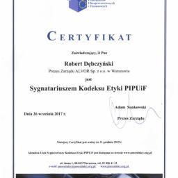 Sygnatariusz Kodeksu Etyki Alvor Sp. z o.o.
