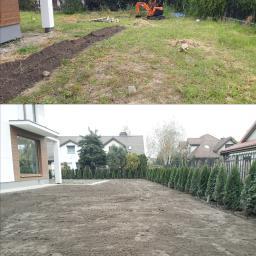 Kompleksowa realizacja ogrodu 600 m2. - drenaż zagospodarowanie wody deszczowej - makroniwelacja podniesienie terenu o 30 cm - system automatycznego nawadniania - nasadzenia szpaleru tuj - trawnik z rolki (wiosna) obrzeża