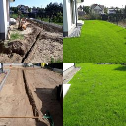 Ogród prywatny: - prace ziemne, - zagospodarowanie wody deszczowej; system nawadniania ;trawnik.