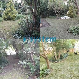 Renowacja starego ogrodu. - czyszczenie działki - karczowanie i prześwietlenie drzewostanu. - system automatycznego nawadniania - sitaka na krety, nawiezienie ziemi urodzajne - trawnik z rolki z obrzeżami - ogrodzenie drewniane - schody wejściowe - nasadze
