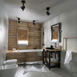 Łazienka eklektyczna, połączenie stylu village + elementy industrialne.